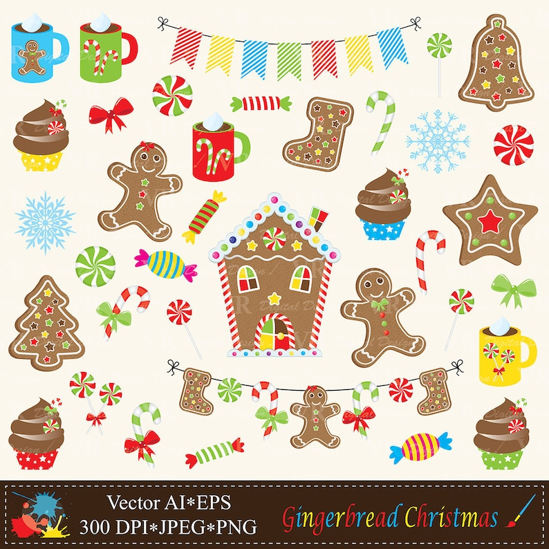 Christmas Gingerbread House Background.Christmas Gingerbread Clip Art Gingerbread House Cookies Candy Cane Christmas Cupcakes Clipart Gingerbread Digital Download Vector