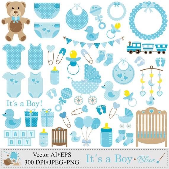 Baby Boy Clip Art Blue Baby Shower Clipart Nursery Clip Art Etsy