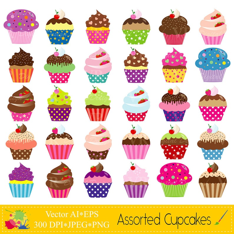Assorted Cupcakes Clip Art Cute Birthday Colorful