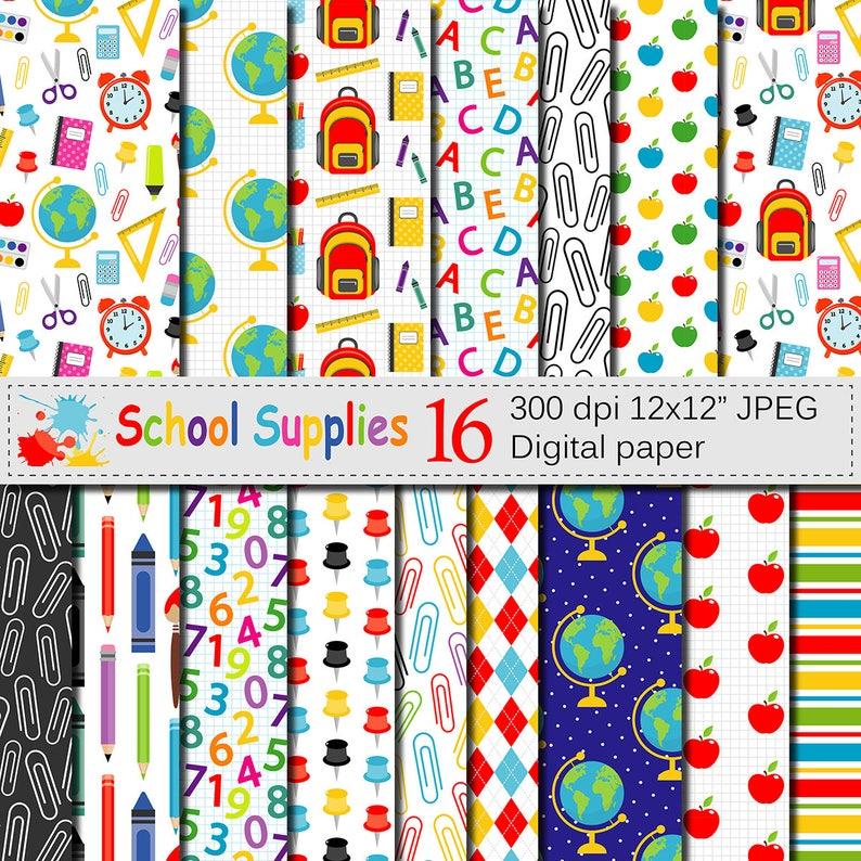 Back to School Digital paper School Supplies pattern Teacher image 0
