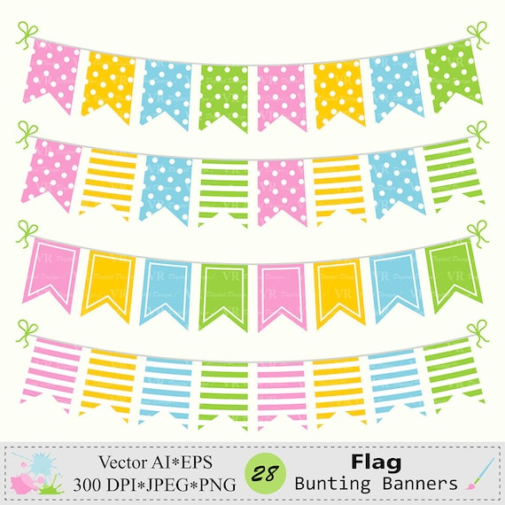 Flag Bunting Banners Clip Art Birthday Party Bunting