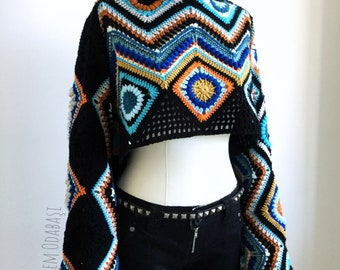 Crochet crop top, crochet oversized shrug,crochet boho crop top,festival clothing,crochet oversized crop top,gift for her,womens gift