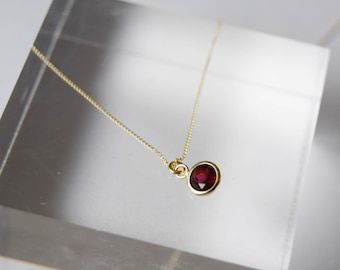 9ct gold garnet necklace, solid gold necklace, garnet gemstone necklace, small gemstone necklace, gold solitaire pendant, garnet jewellery