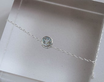 Blue Topaz pendant, Topaz and silver necklace, Blue Topaz necklace, Silver slider pendant, Topaz stone jewellery, blue topaz jewellery,