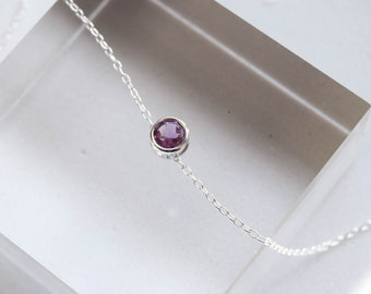 Amethyst necklace, amethyst pendant, amethyst slider necklace, amethyst stone jewellery, silver pendant, birthstone jewellery, amethyst