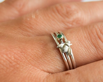 Sterling silver stacking rings, silver bee jewellery, emerald stone ring, emerald stone stacking ring, bumble bee gifts, gemstone rings
