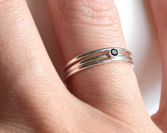 Sterling silver black spinel stacking rings, black spinel stone ring, black stone rings, sterling silver ring set, spinel stacking rings set