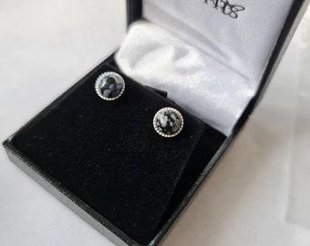 Snowflake obsidian earrings, gemstone earrings, obsidian jewellery, black and white earrings, small stud earrings, snowflake obsidian studs