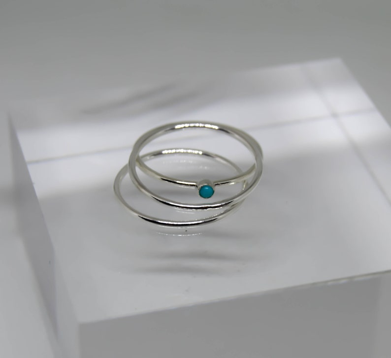 Turquoise ring silver and blue stone ring silver stacking rings silver and turquoise ring small turquoise ring stacking ring set