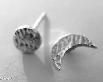 Full moon earrings, Crescent moon earrings, to the moon and back, moon earrings, silver earrings, silver moon studs, celestial jewellery
