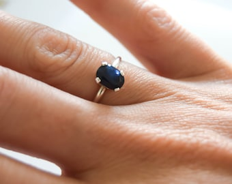 Sapphire ring, sterling silver solitaire ring, genuine dark blue sapphire ring, sapphire stone ring, sapphire and silver ring, real sapphire
