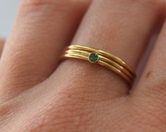 Gold filled emerald ring, gold emerald stacking ring, 14ct gold stacking rings, Emerald gemstone ring, Emerald stone ring, Emerald gold ring