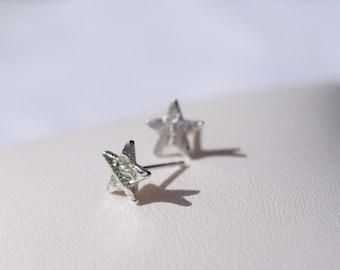 Silver star earrings, silver studs, small silver earrings, handmade silver earrings, Zodiac jewellery, dainty star studs, star earrings