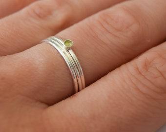Peridot rings, sterling silver stacking rings, peridot stone rings, peridot stacking rings, small gemstone rings, silver stacking ring set