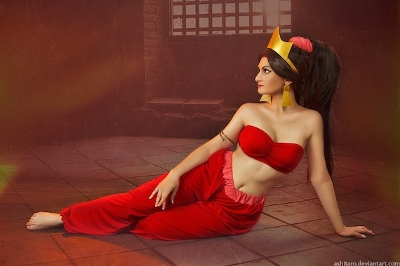 Cosplay Aladdin Jasmine Red Costume Disney Women Clothing Etsy