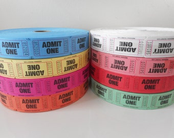 Red 25 Cents Single Roll Tickets 2000 tickets New - Bulk Free Shipping