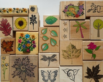 25 Nature Themed Rubber Stamps, Gently Used, Free Shipping