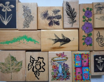 15 Gently Used Nature Themed Rubber Stamps, Free Shipping