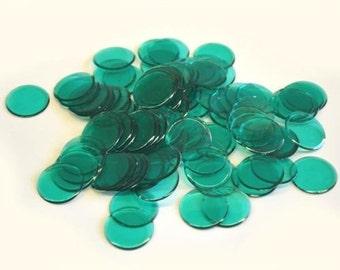 100 Plastic Bingo Chips, Green