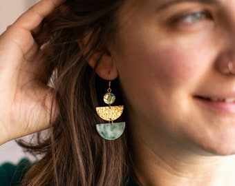 Abalone Bead, Brass and Acrylic Statement Earrings / Acrylic Resin, Raw Brass,  Lightweight Statement Earrings