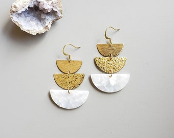 Stacked White Acrylic and Brass Statement Earrings / Acrylic Resin, Raw Brass, Lightweight Earrings