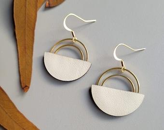Salvaged Leather Double Hoop Geometric Earrings