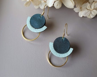 Salvaged Leather Deco Dots Geometric Earrings