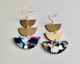 Stacked Multicolor Acrylic and Brass Statement Earrings / Acrylic Resin, Raw Brass, Lightweight Earrings