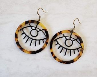 Hoop & Black Eye Tortoise Shell Earrings / Evil Eye Earrings / Hoop Earrings