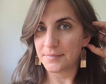 Brass Rainbow Charm Earrings / Acrylic, Raw Brass, Lightweight Earrings