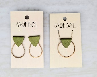 Hammered Brass and Leather Jewelry Sets