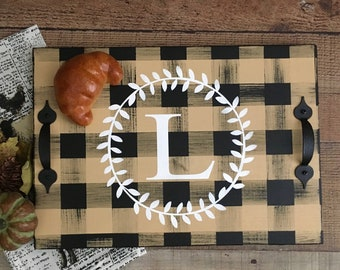 Personalized Wood Serving Tray in Buffalo Check Plaid with White Personalized Initial/Monogrammed Serving Tray/Modern Farmhouse Decor