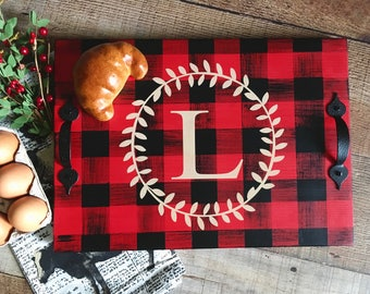Buffalo Plaid Check Serving Tray in Red and Black Buffalo Plaid/Personalized Serving Trays/Red Black Plaid Christmas Decor/Coffee Bar Tray