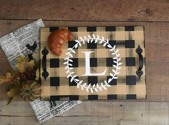 Serving Tray,Personalized Wood Tray,Buffalo Plaid Home,Serving Board,Hot Chocolate Bar,Christmas Gift,Wedding Gift,Breakfast Tray