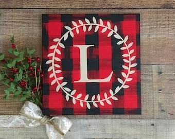 Buffalo Plaid Holiday Decor/Personalized Holiday Decor/Rustic Plaid Christmas Decorations/Red and Black Plaid Holiday Decor