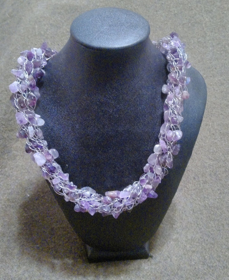 woven necklace February birthston mother/'s day gift ON SALE 23 inch amethyst and silver Viking knit necklace birthday gift gift for her