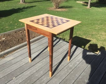 Figured Maple and Black Walnut Chess Table