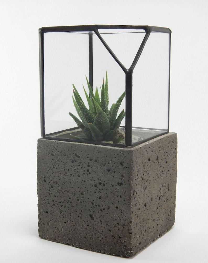Geometric Glass Terrarium Cement Planter Cactus Terrarium Etsy