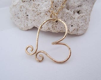 Handmade Handcrafted Heart Necklace 14k Gold Filled, 28 inches, Heavy Gauge, Pendant, Hammered, Hypoallergenic, Bridesmaid Gift