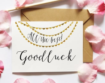 Good Luck Card Printable, etsy printable, All The Best Printable Card, DIY Cards, Card Making, Gold Bunting Card, Digital Instant Download