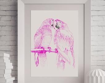 Bird Printable, Poster Printable, Bird Print, Instant Download, Printable Art, Pink Wall Art, Housewarming Gift, Wedding Gifts For Couple