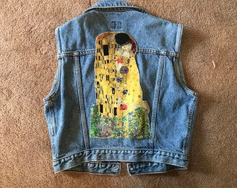 The Kiss Gustav Klimt huge velvet back patch 13 inches tall fine art patch  large big sew on denim jacket 80167bc23