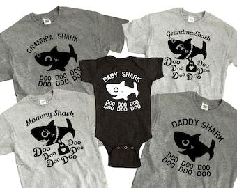 Baby Shark Family DIY iron on transfer ONE image Mommy Daddy Baby Grandma Grandpa sharks cute doo doo doo song aquarium zoo matching outfit