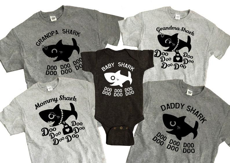 7060e91f Baby Shark Family DIY iron on transfer ONE image Mommy Daddy | Etsy