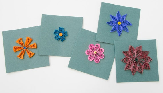 Set Of 5 Mini Cards Greeting Paper Quilled