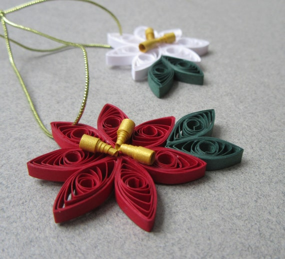 Christmas Tree Ornaments Quilling Christmas Ornament Quilling Poinsettia Ornament Paper Quilled Ornament Xmas Tree Ornaments Tree Decor