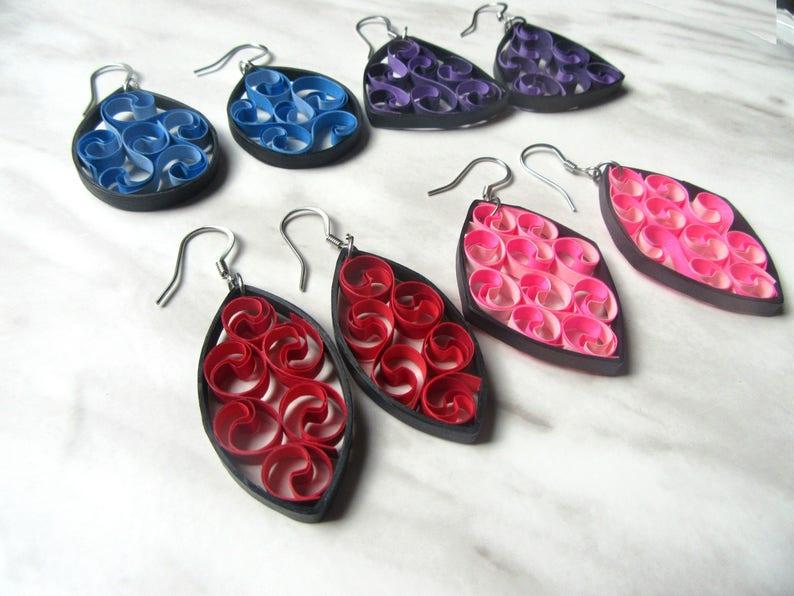 paper quilling earrings unique paper earrings quilling etsy rh etsy com  paper quilling jewellery box