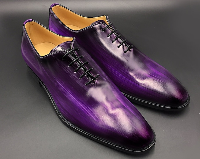 Men shoes leather purple color, oxford wholecut, hand made in Italy