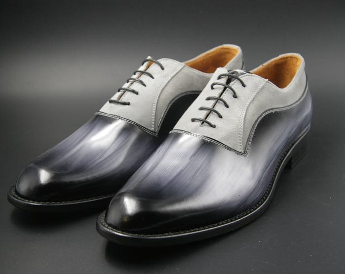 Man shoe leather and suede grey wood hand made in Italy