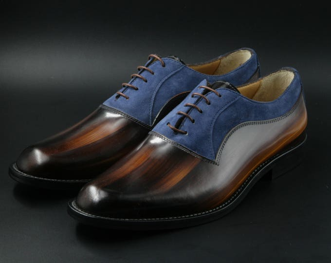 Man shoe leather and suede hand made in Italy